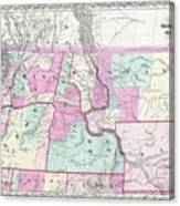 1866 Colton Map Of Oregon Washington Idaho And Montana W Wyoming Canvas Print