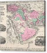1866 Johnson Map Of Arabia Persia Turkey And Afghanistan Iraq Canvas Print