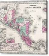 1866 Johnson Map Of Central America Canvas Print