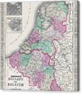 1866 Johnson Map Of Holland And Belgium Canvas Print