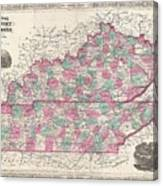 1866 Johnson Map Of Kentucky And Tennessee  Canvas Print