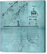 1868 Fishing Tackle Patent Blue Canvas Print