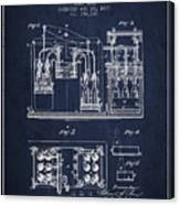 1877 Bottling Machine Patent - Navy Blue Canvas Print