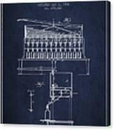 1884 Bottling Machine Patent - Navy Blue Canvas Print