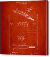 1885 Tuning Fork Patent - Red Canvas Print