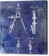 1888 Draftsmans Compass Patent Blue Canvas Print