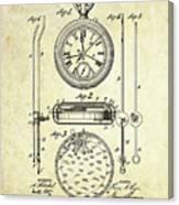 1889 Stop Watch Patent Art S. 1 Canvas Print