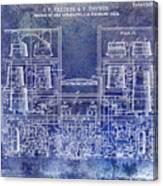 1897 Beer Brewering Patent Blue Canvas Print