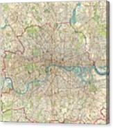 1899 Bartholomew Fire Brigade Map Of London England  Canvas Print