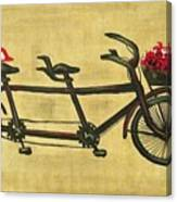 18x36 Premium Gallery Tandem Bicycle Painting With Red Birds Red Flowers Canvas Print