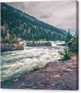 Kootenai River Water Falls In Montana Mountains Canvas Print