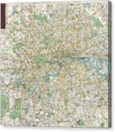 1900 Bacon Pocket Map Of London England  Canvas Print