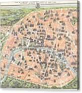 1900 Garnier Pocket Map Or Plan Of Paris France Eiffel Tower  Canvas Print
