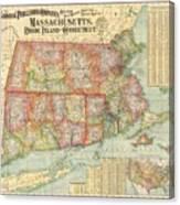 1900 National Publishing Railroad Map Of Connecticut Massachusetts And Rhode Island  Canvas Print