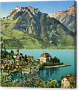 1900s Switzerland Swiss Alps Spiez Mit Ralligstoecke Canvas Print