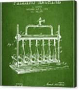 1903 Bottle Filling Machine Patent - Green Canvas Print