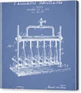 1903 Bottle Filling Machine Patent - Light Blue Canvas Print