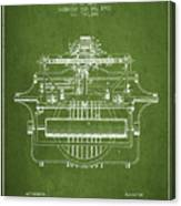 1903 Type Writing Machine Patent - Green Canvas Print