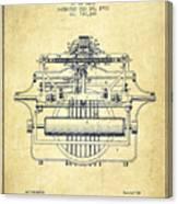 1903 Type Writing Machine Patent - Vintage Canvas Print