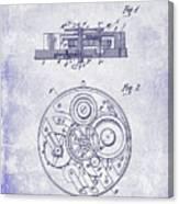 1908 Pocket Watch Patent Blueprint Canvas Print