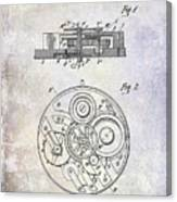 1908 Pocket Watch Patent  Canvas Print