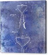 1909 Cork Extractor Patent Blue Canvas Print