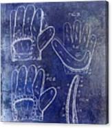 1910 Baseball Glove Patent Blue Canvas Print