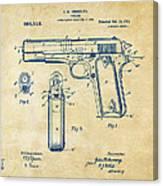 1911 Colt 45 Browning Firearm Patent Artwork Vintage Canvas Print