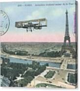 1911 Paris Eiffel Tower Colorized Postcard Canvas Print