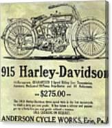 1915 Harley Davidson Advertisement Canvas Print