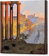 1920 Paris To Rome Train Travel Poster Canvas Print
