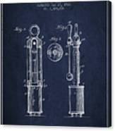 1920 Tuning Fork Patent - Navy Blue Canvas Print