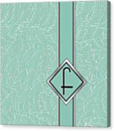 1920s Blue Deco Jazz Swing Monogram ...letter F Canvas Print