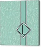 1920s Blue Deco Jazz Swing Monogram ...letter L Canvas Print