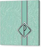 1920s Blue Deco Jazz Swing Monogram ...letter P Canvas Print
