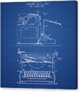 1923 Typewriter Screen Patent - Blueprint Canvas Print