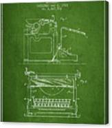 1923 Typewriter Screen Patent - Green Canvas Print