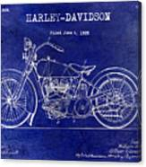1928 Harley Davidson Patent Drawing Blue Canvas Print