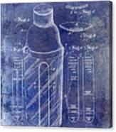 1930 Cocktail Shaker Patent Blue Canvas Print