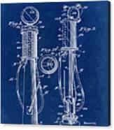 1930 Gas Pump Patent In Blue Canvas Print