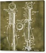 1930 Gas Pump Patent In Grunge Canvas Print