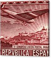 1931 Airplane Over Madrid Spain Stamp Canvas Print