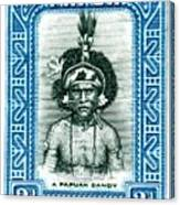 1932 Papua New Guinea Native Dandy Postage Stamp Canvas Print