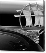 1934 Plymouth Hood Ornament Black And White Canvas Print