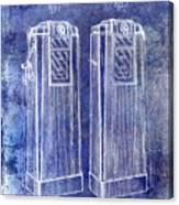 1936 Gas Pump Patent Blue Canvas Print