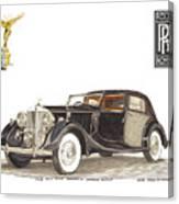 1938 Rolls Royce Phantom I I I Sedanca Deville Canvas Print