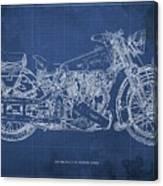 1939 Brough Superior Ss100 Blueprint Blue Background Canvas Print