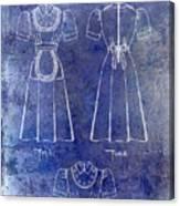1940 Waitress Uniform Patent Blue Canvas Print