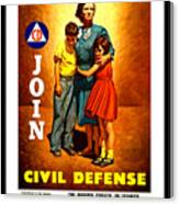 1942 Civil Defense Poster By Charles Coiner Canvas Print