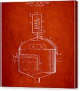 1944 Art Of Brewing Beer Patent - Red Canvas Print